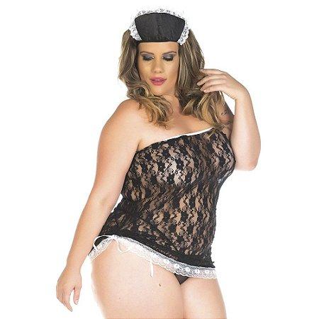 Kit Fantasia Plus Size Empregada Sexy Pimenta Sexy - Sexshop