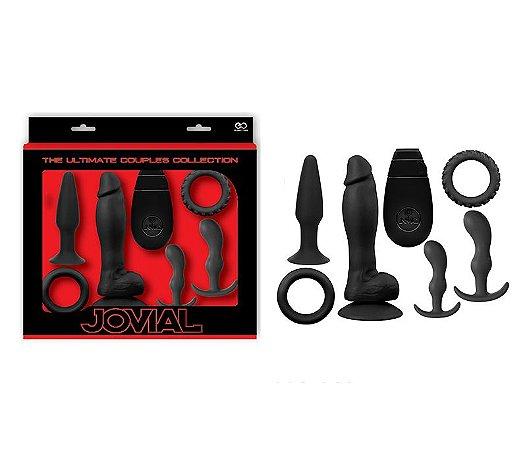 Kit Jovial 7 em silicone Black, com 2 anéis, 3 Plugs e Vibrador - Sex shop
