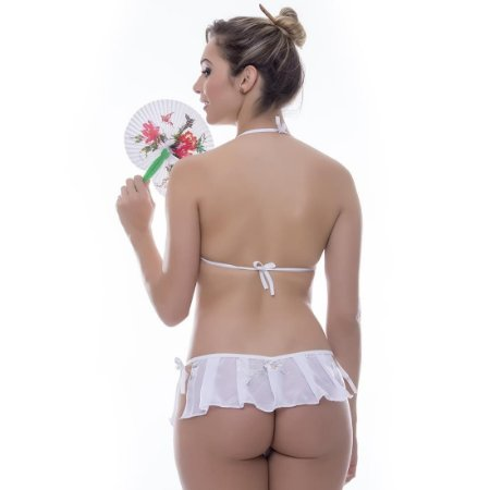 Kit Mini Fantasia Gueixa Sensual Love Branca - Sexshop
