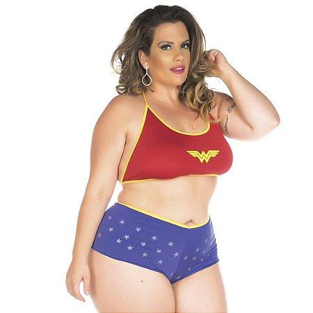 Kit Mini Fantasia Plus Size Mulher Maravilha Pimenta Sexy - Sexshop