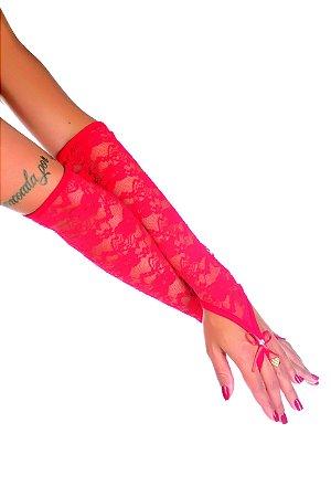 Luva Longa Renda Vermelha Pimenta Sexy - Sexshop
