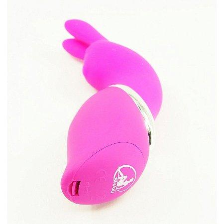 Massageador formato coelho com 7 vibrações em silicone - Sexshop