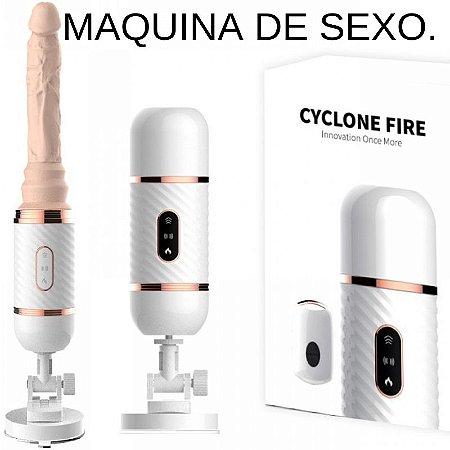 Mini Fuck Machine com Ventosa e 7 Modos de Vibração e Movimentos - CYCLONE FIRE - Sexy shop
