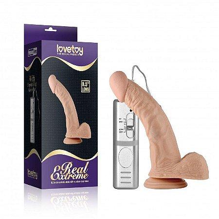 Pênis curvado com ventosa com 3 vibrações, veias e escroto - REAL EXTREME - Sexshop