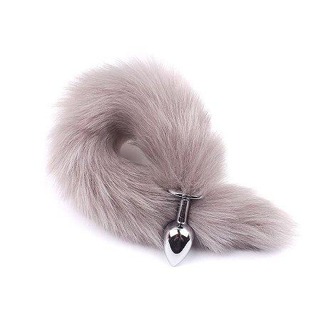 Plug Anal em Alumínio 7cm com Cauda Cinza claro - Sex shop
