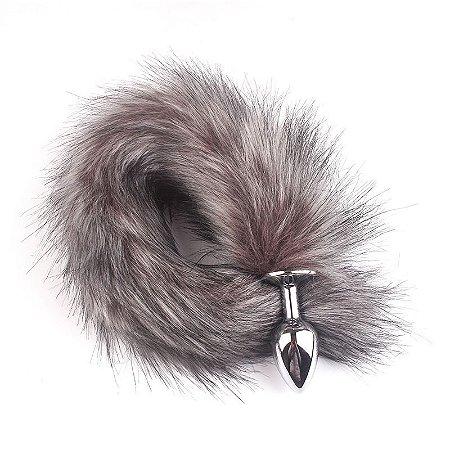 Plug Anal em Alumínio 7cm com Cauda de Raposa Escura - Sex shop