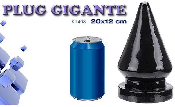 Plug gigante com vibrador pele 20 x 12 cm - Sexshop