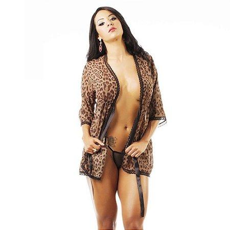 Robe Sensual Felina Pimenta Sexy Oncinha - Sexshop