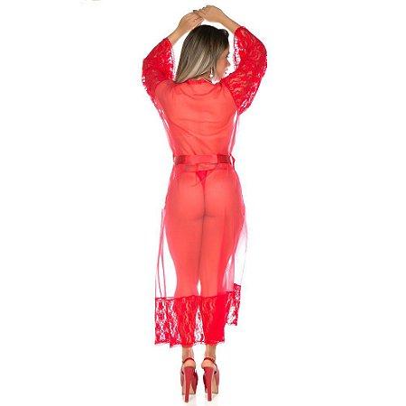 Robe Sensual Longo Pimenta Sexy Vermelho - Sex Shop