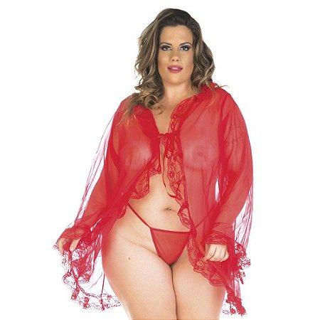 Robe Sensual Plus Size Tentação Pimenta Sexy Preta - Sexshop