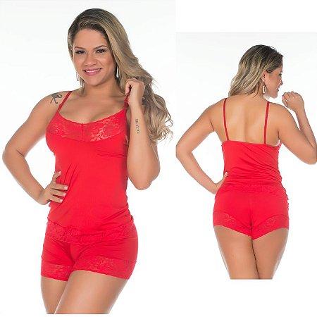 Short Doll Feminino Fabia Vermelho Pimenta Sexy - Sexshop