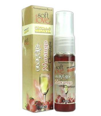 Spray Beijável Elétrico Morango com champanhe JATOS 15ML SoftLove - Sexshop