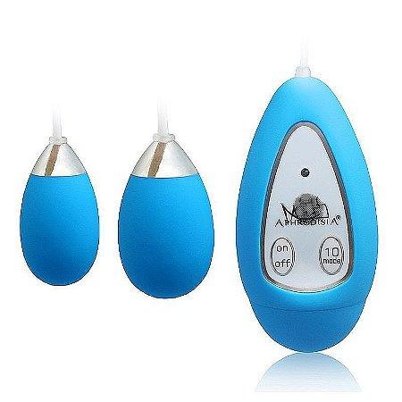 Vibrador Duplo Capsula 10 Vibrações com Controle Ergonômico a Fio - APHRODISIA EXTREME EGG - Sex shop
