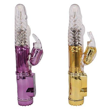 Vibrador Jack Rabbit Coelho Dourado ou Roxo Metálico - Sexshop