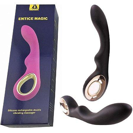 Vibrador Lealso Recarregável Magic em Puro Silicone - 16 Velocidades - 18cm - Sex shop