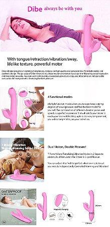 Vibrador recarregável possui em sua ponta uma língua que se movimenta com a vibração - DIBE - Sexshop