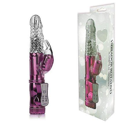 Vibrador Rotativo 36 Funções com Estimulador Clitoriano - Sex shop