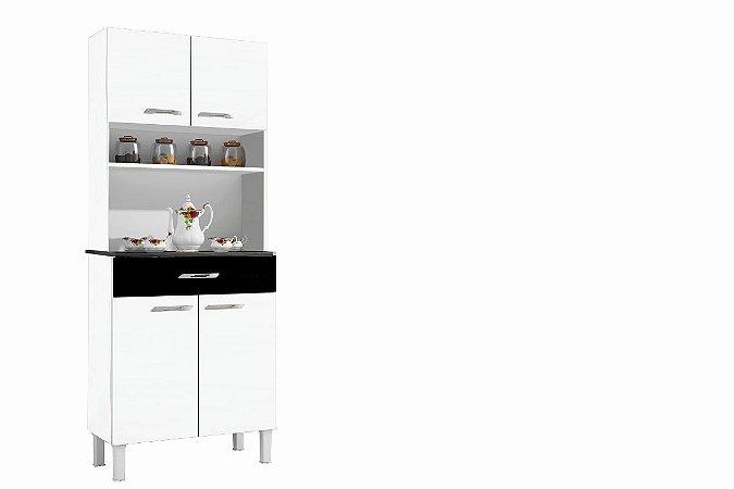 Armario De Cozinha Alfa 4 P Branco & Preto Sallêto