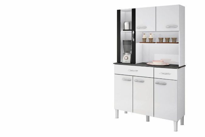 Armario De Cozinha Alfa 6 P Branco & Preto Sallêto