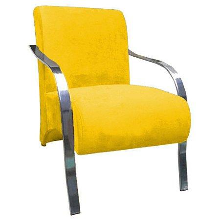 Poltrona Vênus Braço de Aluminio Tecido Liso - Amarelo