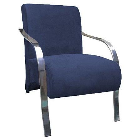 Poltrona Vênus Braço de Aluminio Tecido Liso - Azul Bic
