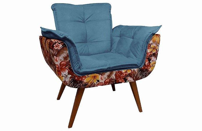 Poltrona Opalla Tecido Floral - Azul BB
