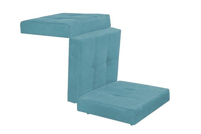 Puff Cama Kalevi Tecido Liso - Azul BB