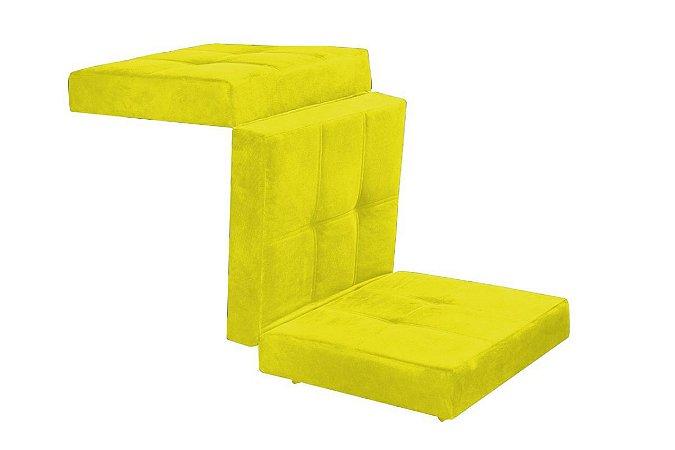 Puff Cama Kalevi Tecido Liso - Amarelo