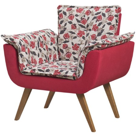 Poltrona Opalla Tecido Floral - Vermelho