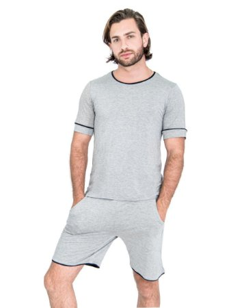 Pijama Curto masculino Malha Basico Cinza Mescla