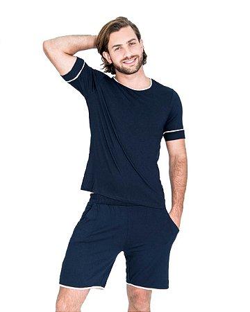 Pijama Curto masculino Malha Basico Azul Marinho