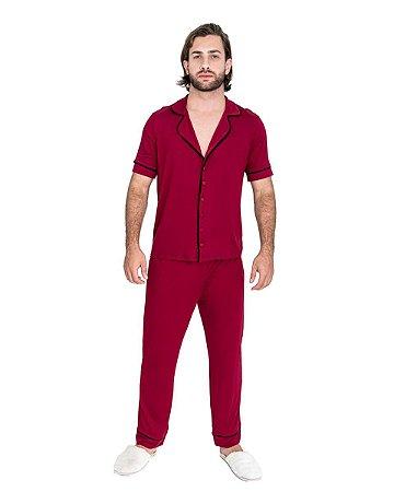 Pijama Americano masculino Basico Vermelho Vinho