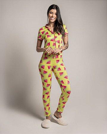 Pijama Americano feminino Camisa com Botoes e Calca Melancia