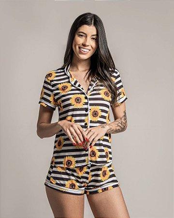 Pijama Americano feminino Camisa com Botoes Girassol Listras