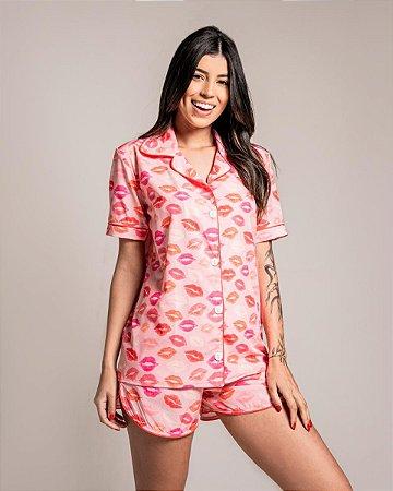 Pijama Americano Camisa com Botoes XoXo Classy