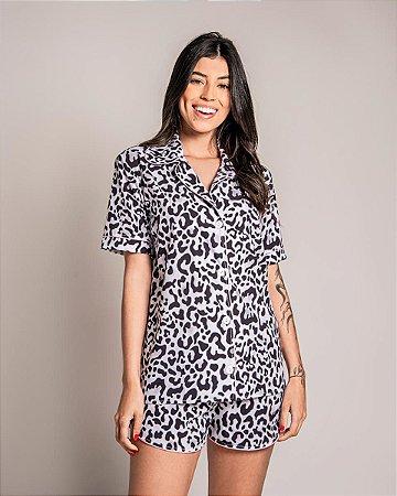 Pijama Americano Camisa com Botoes Vaquina Classy