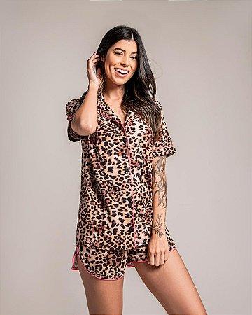 Pijama Americano Camisa com Botoes Roar Classy