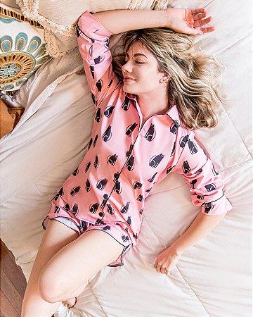 Pijama Americano Camisa com Botoes Longo Cats Classy