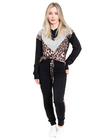 Pijama Feminino Longo em Moletinho - Animal Print Preto