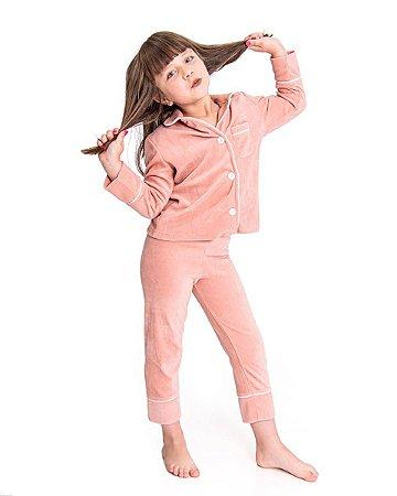 Pijama Infantil Tal Mae Tal Filha Americano em Plush Rose