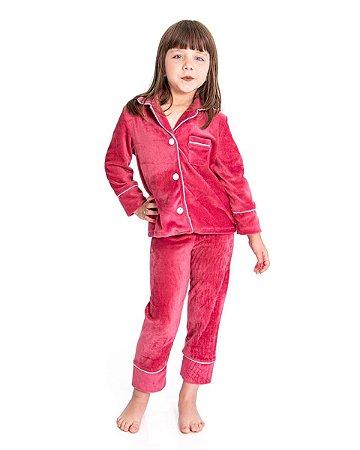 Pijama Infantil Longo Camisaria - Plush Rose
