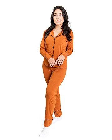 Pijama Americano feminino Camisaria Tres Pecas Caramelo