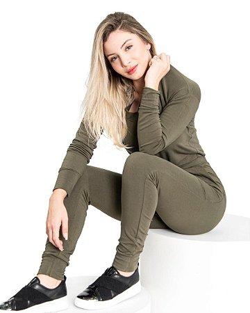 Conjunto feminino Basico Malha Crepe Verde Militar