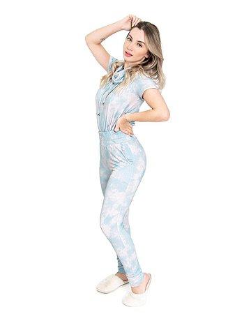 Conjunto Moletom Tie Dye Manga Curta Gola Alta Azul