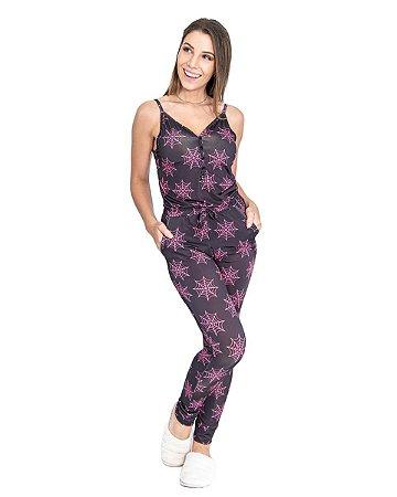 Pijama Macacao feminino Preto Estampado em Malha Fria