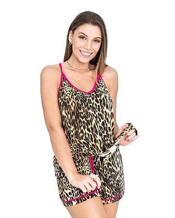 Pijama Short Doll Alcinha com Amarrcao Estampa Oncinha com Detalhem em Pink
