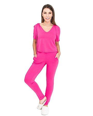Conjunto feminino Verão com Gola V e Capuz Pink
