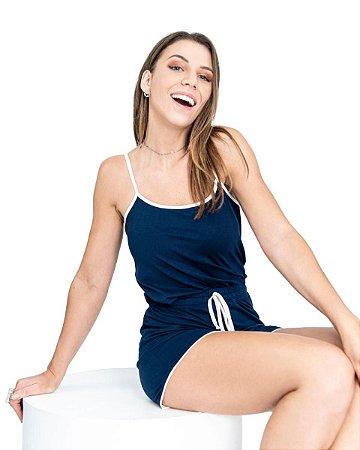 Pijama feminino Short Doll Basico Azul Marinho