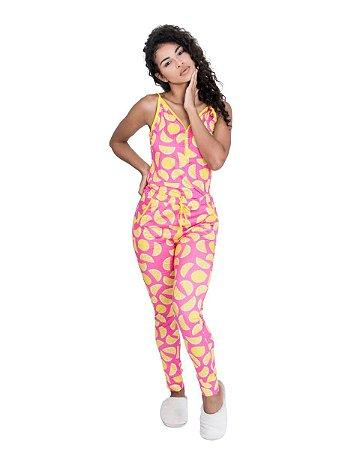 Pijama feminino Alcinha com Calca Estampado Limao
