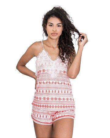 Pijama Short Doll de Alcinha Estampado com Renda